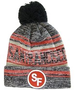 San Francisco SF Patch Fade Out Cuffed Knit Winter Pom Beanie Hat (Black... - $11.95