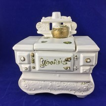 1960's McCoy Pottery USA Wood Burning Stove Cookie Jar White with Gold A... - $39.99