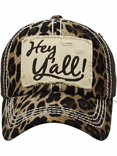 Embroidered Leopard Print Hey Y'all Patch Baseball Hat (Brown)