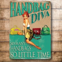 Handbag Diva Funny Pinup Girl Retro Fashion Bag Quality Fridge Magnet - $3.34