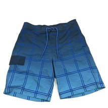 George Swim Trunks Mens Size Medium 32 - 34 Waist Blue Check Swimsuit Me... - $17.83