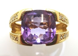 14k Gold Cushion Cut Genuine Natural Amethyst Ring with Diamonds (#J3810) - $308.75