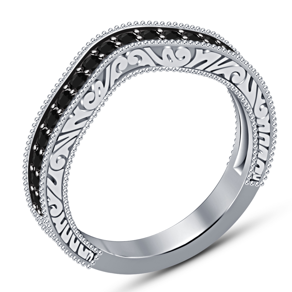 1.35CT Round Cut Engagement Ring Set Diamond Wedding Band 14k White Gold Finish