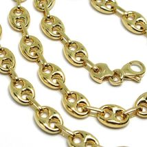 18K YELLOW GOLD MARINER CHAIN BIG OVALS 8 MM, 24 INCHES, ANCHOR ROUNDED NECKLACE image 3