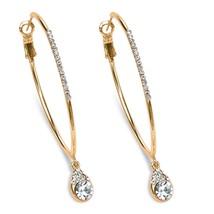 """PalmBeach Jewelry White Crystal Gold Tone Hoop Teardrop Earrings (1.5"""") - $17.99"""