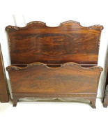 Pair Antique French Flame Mahogany Twin Beds Beautifully Carved Scrolls ... - $989.95