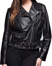 Women black brando belted leather jacket  fashion leather jacket womens thumb200