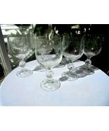 Set of 6 Import Assoc Bohemian Crystal Cascade Pattern Wine Goblets - $49.49