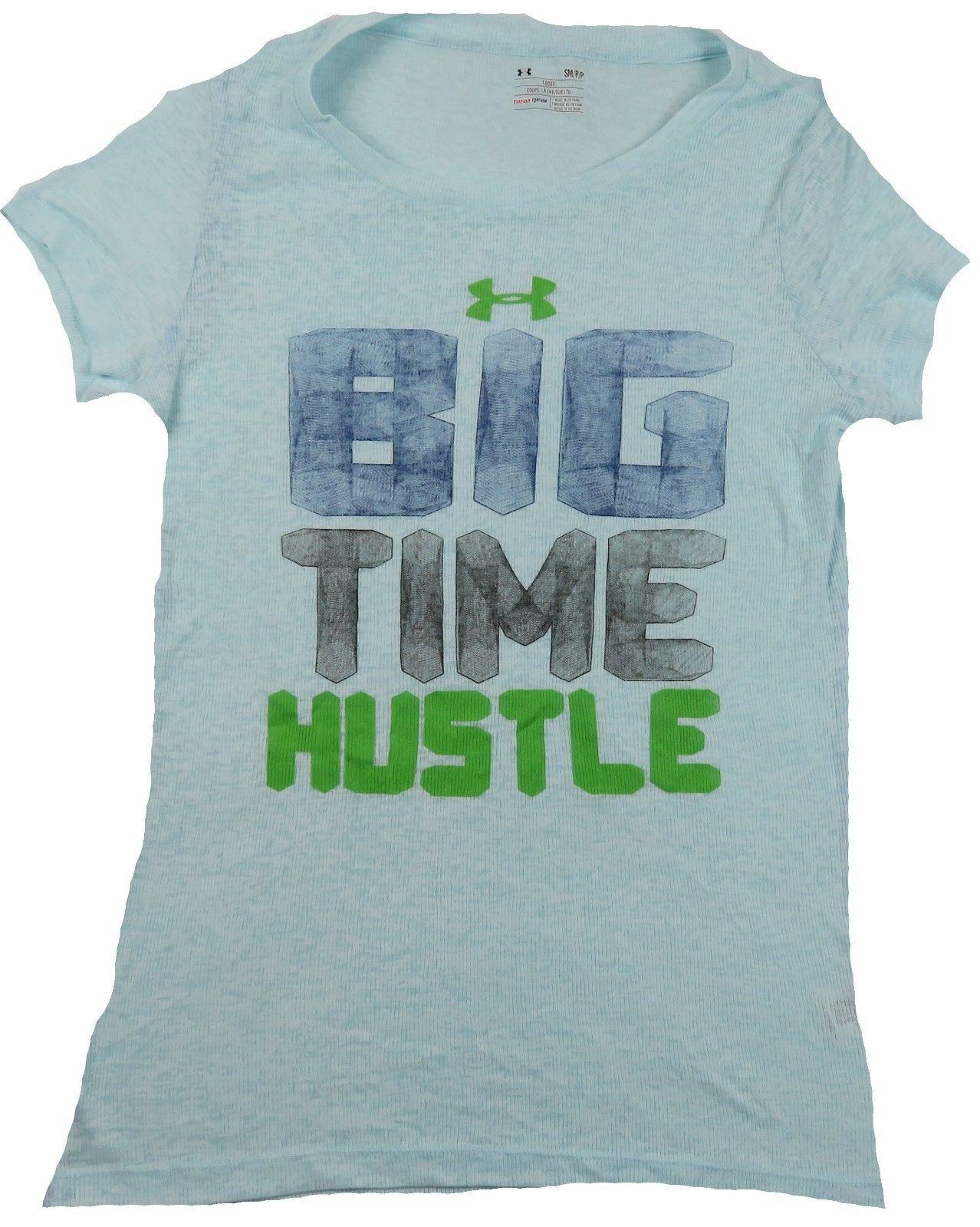 Women's Under Armour Shirt Loose Heat Gear Tee Slub Big Time Hustle NEW