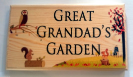 Large Great Grandads Garden Plaque / Sign - Autumn Owl Shed Grandpa Dad ... - $20.44