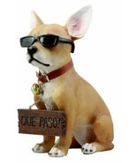Ebros Gift Que Paso Summer Sun Tanning Chihuahua Dog Statue Carefree Puppy - $46.99