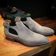 Handmade Men's Gray Suede Monk Strap High Ankle Chukka Boots image 4