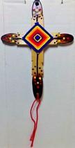 Native American Car Mirror Wood CROSS GOD'S EYE Yarn Reverse Seminole Bl... - $25.99
