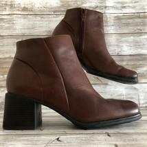 White Mountain 7M Ankle Boots Diamond Brown Leather Block Heel Zip Squar... - £26.81 GBP
