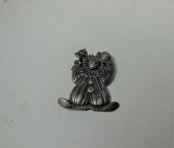 Pewter Tone Clown Pin Brooch - $10.88