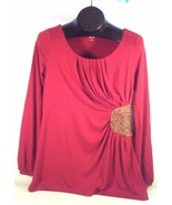 ANA A NEW APPROACH BRIGHT RED BLOUSE W/SEQUIN ACCENT SIZE M - $12.98