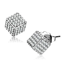 Women's Stainless Steel High polished Cubic Fashion CZ Clear Earrings - $23.95