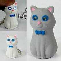 LED CAT KEYCHAIN w Light & Sound Meow Noise Toy White Gray Animal NEW Ke... - $6.95
