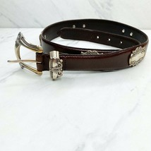 Fossil Belt Brown Leather Silver Concho Heart Size Medium Womens - $12.43