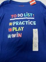 Cat & Jack S 6 6X ToDo List Practice Play Win Blue Long Sleeve Tee Shirt... - $12.38