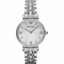 New Women's Emporio Armani AR1682 Silver Tone Quartz Mother Of Pearl Dial Watch - $140.24