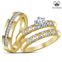 Yellow Gold Plated 925 Sterling Silver Round Cut White CZ Trio Wedding Ring Set - $159.99