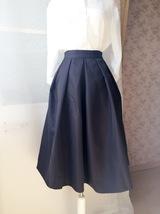 Elegant Black Taffeta Pleated Skirts Tea length Black Tea Skirts High Waist NWT image 5