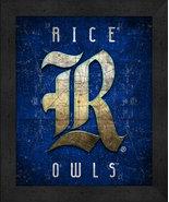"Rice Owls ""Retro College Logo Map"" 13x16 Framed Print  - $39.95"
