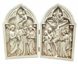 CRUCIFIX DIPTYCH STATUE DIVINITY JESUS MARY CRUCIFIXION AND ASCENSION - $44.99