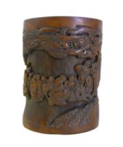 wholestoreSALE Chinese Bamboo Scenery Carved Brush Pot Display cs695-15E - $2,560.00