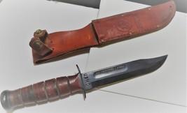 WW11 USMC Knife with leather sheath. Engraved with name of Marine image 1