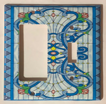 Stained blue glass art Light Switch Outlet Wall Cover Plate Home Decor image 4