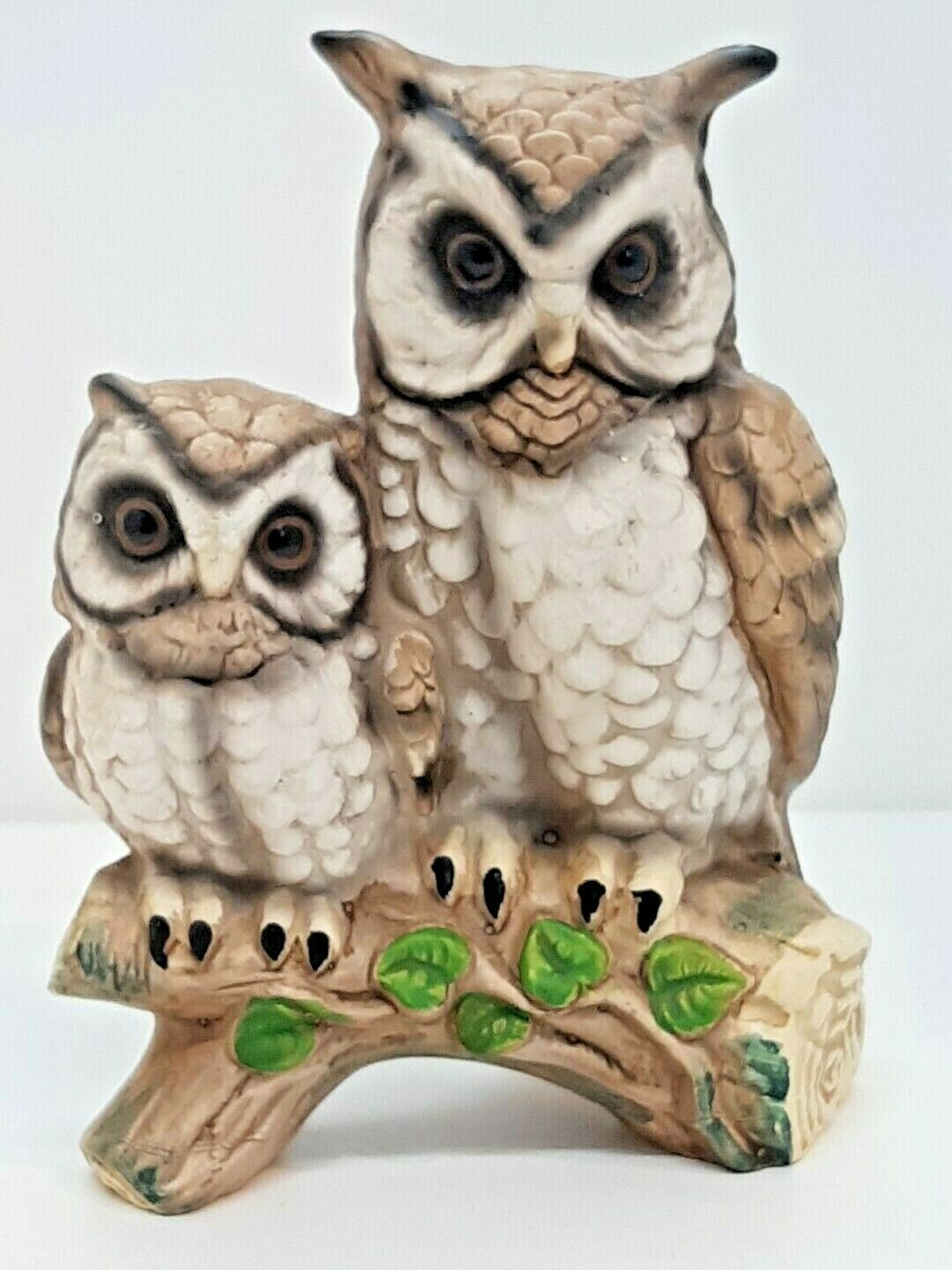 Primary image for Owl Pair Perched Branch Leaves Mom Dad Baby Mother Father Owlet Bird Collectible