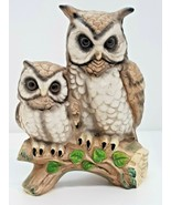 Owl Pair Perched Branch Leaves Mom Dad Baby Mother Father Owlet Bird Collectible - $14.84