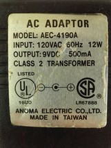 Anoma AC Adaptor AEC-4190A Power Supply 9VDC 500mA - $17.45