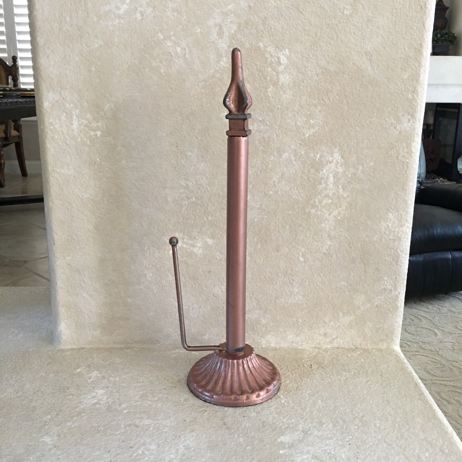 "TUSCAN 16.75"" x5"" Wrought Iron PAPER TOWEL HOLDER Distressed COPPER Heavy RUSTIC"