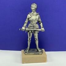 Depose Italy Knight statue figurine sword sculpture armor marble base me... - $49.45