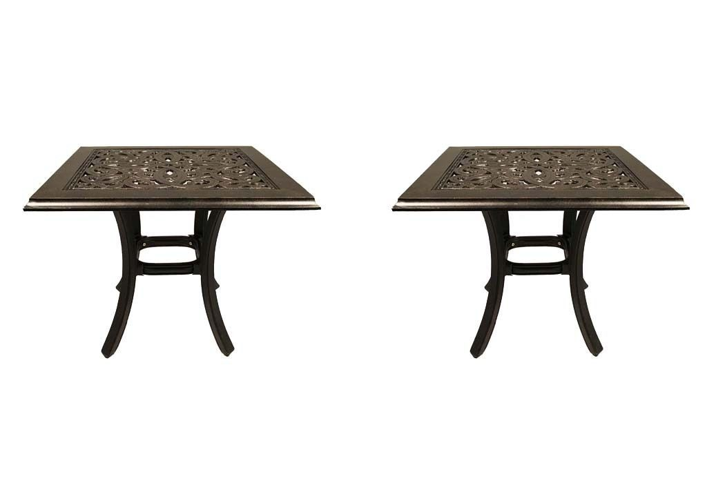 Primary image for Outdoor end table set of 2 patio tables pool side accent cast aluminum furniture