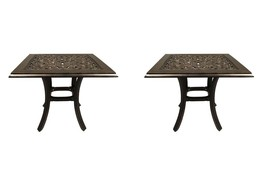 Outdoor end table set of 2 patio tables pool side accent cast aluminum furniture image 1