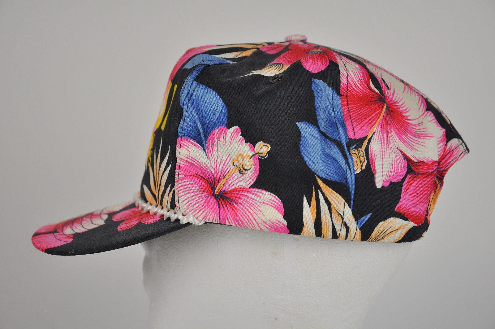 Vtg MAUI Tropical SCHNAPPS Hibiscus BLACK Pink FLORAL Cap Hat SNAPBACK  Hawaiian 4ad6e65aa21d