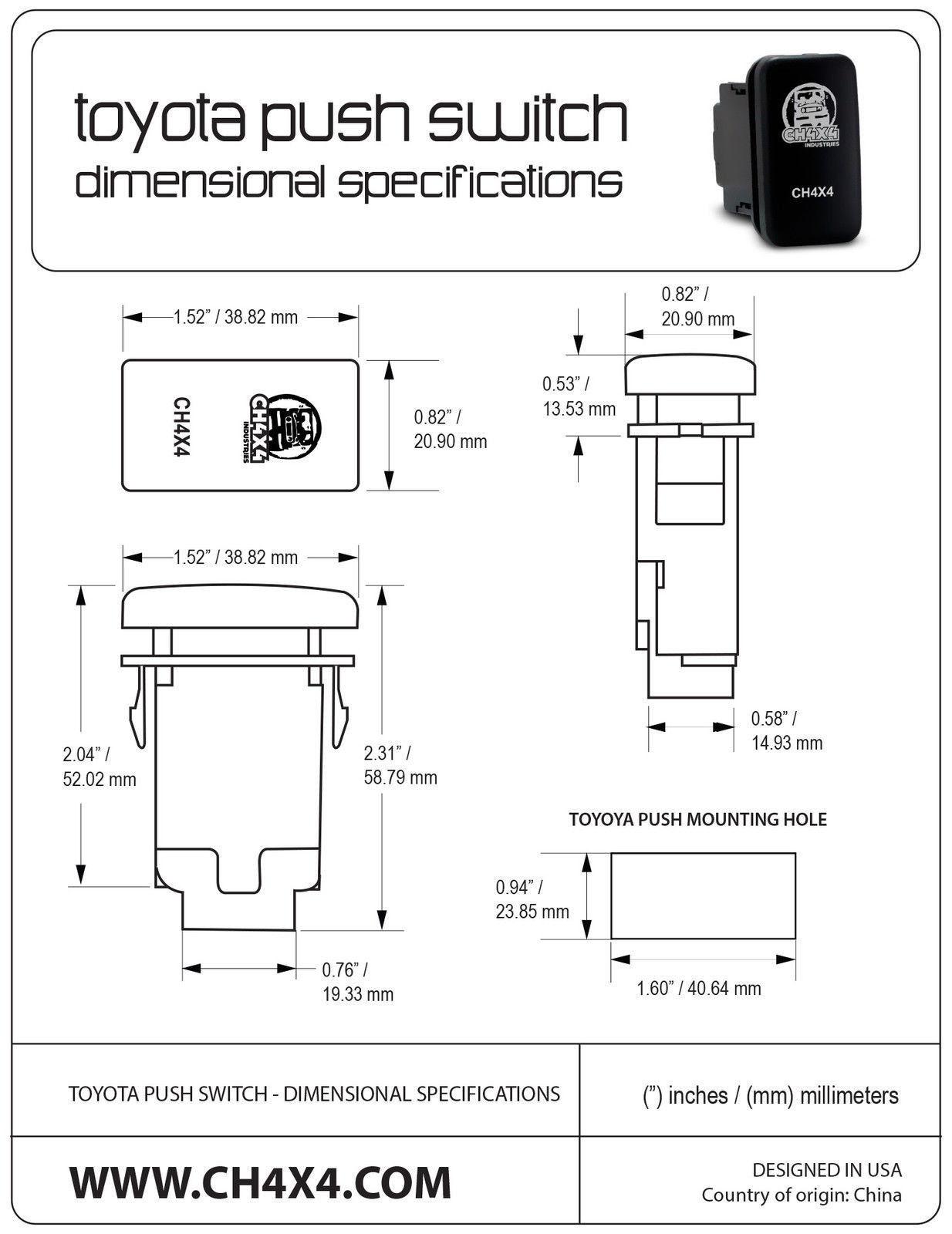 Front Roof Light Bar Symbol CH4x4 Push Switch for Toyota FJ Cruiser White Led