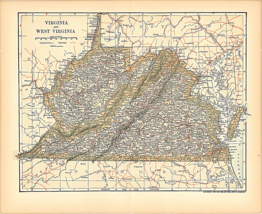 Original 1903 Antique Map Population Table Virginia & WV Dodd Mead Co 12... - $26.48
