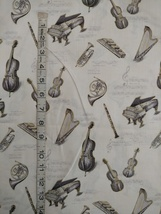 1/2 yd Music/instruments on ivory quilt fabric -free shipping image 5