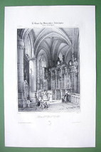 FRANCE Interior of Caudebec Cathedral - SUPERB Litho Antique Print Engra... - $20.28