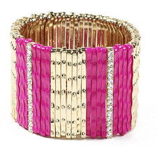 NWT Amrita Singh Gold Crystal Pink Enamel Mercer Street Stretch Bracelet - $19.50