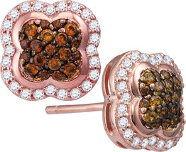 10k Rose Gold Round Brown Diamond Quaterfoil Cluster Stud Earrings - $450.00