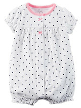 Carter's Baby Girls Navy Hearts Snap-Up Romper, 24 Months, 118G267W - $9.50