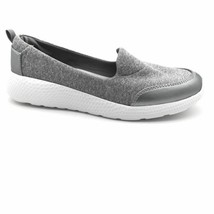Lands End Womens Comfort Flat Shoes Gray Metallic Fabric Slip On Round Toe 7.5 D - $28.21