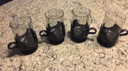 CORNINGWARE SET/4 MCM Glas-snap Black Pedestal Glass Coffee Mugs Inserts Bx63