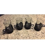 CORNINGWARE SET/4 MCM Glas-snap Black Pedestal Glass Coffee Mugs Inserts... - $21.38